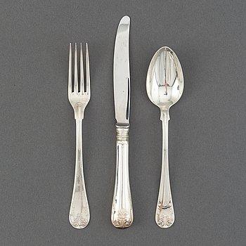 A Swedish silver cutlery, 'Gammal Fransk', CG Hallberg and GAB, Stockholm and Eskilstuna, 1924-92 (21 pieces).