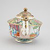 A canton famille rose tea pot with cover, qing dynasty, 19th century.