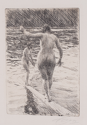 Anders zorn, etching, 1919, signed in pencil.