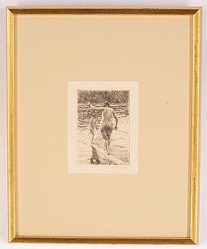 Anders Zorn, etsning, 1919, signerad med blyerts.