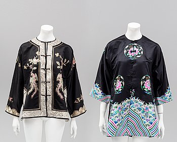 Two Chinese embroidered jackets, 20th century.