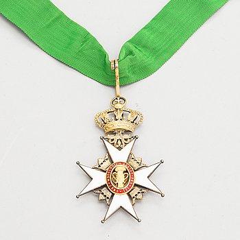 Vasa-orden, Kommendörstecken, förgyllt silver, emalj. CF Carlman, Stockholm.