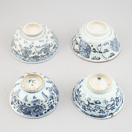 A group of four blue and white bowls, ming dynasty (1368-1644).