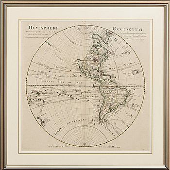 """A hand colored engraving, map of America, """"Hemisphere Occidental"""", 1720."""