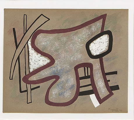 Alberto magnelli, gouache signed and dated 40.