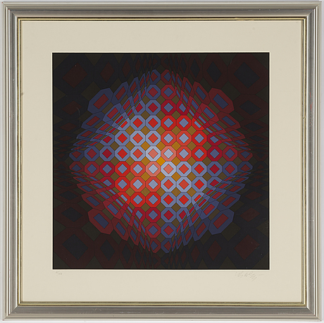 Victor vasarely, silkscreen in colours, signed 65/250.