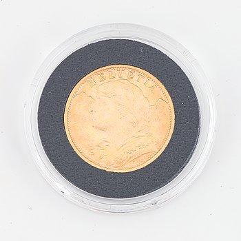 Guldmynt, Schweiz, 20 Franc, 1935.