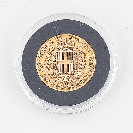 A 20 lire gold coin, kingdom of sardinia, 1832.