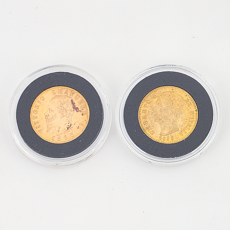 Two italian 20 lire gold coins, 1863 & 1888.