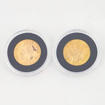 Guldmynt 2 st, Italien, 20 Lire, 1863 & 1888.