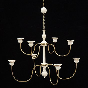 Josef Frank, a model 2586 wooden and brass chandelier for Firma Svenskt Tenn.