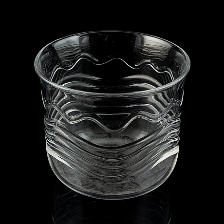 A glass bowl by ingeborg ludin, orrefors, signed and dated 1968.
