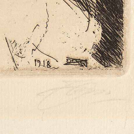 Anders zorn, etsning, 1918, signerad med blyerts.