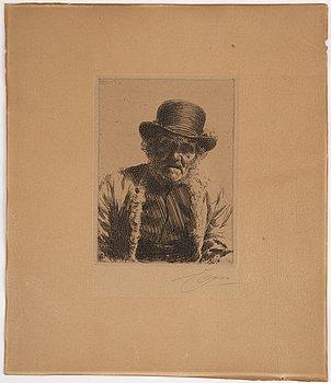 Anders Zorn, etsning, 1911, signerad med blyerts.