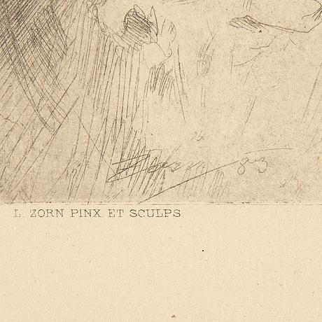 """Anders zorn, etching, from the unsigned ed for """"föreningen för grafisk konst"""", 1887."""