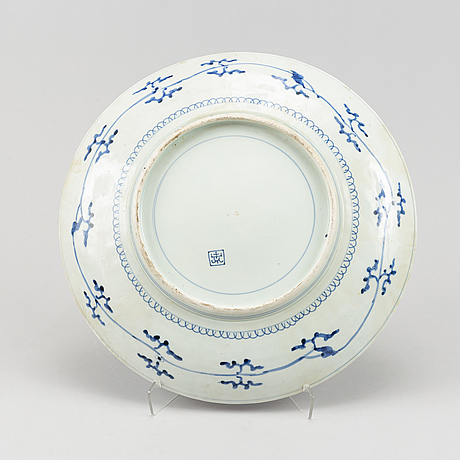 A large blue and white japanese charger, 20th century.