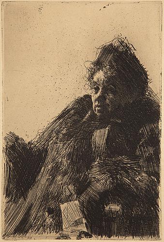 """Anders zorn, etsning, 1891, från den osignerade upplagan ur tidskriften """"pan"""", 1895."""