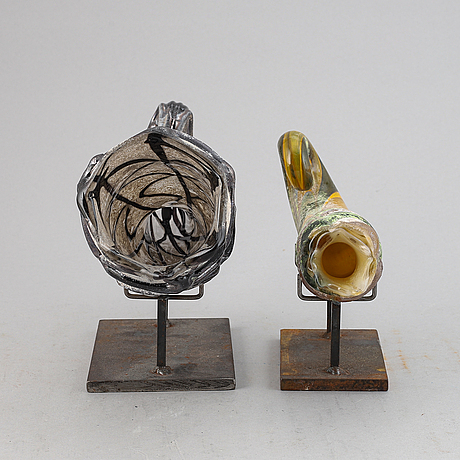 Two glass shells by claes uvesten, signed and dated 1996.