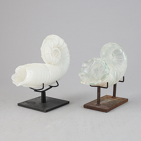 Two glass shells by claes uvesten, signed and one dated 1996.