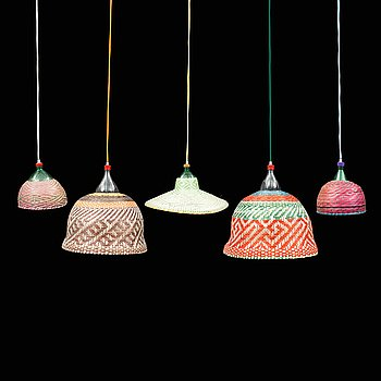 Five ceiling lights, 'PET lamp', Colombia, 2012.