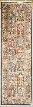 Käytävämatto, part-silk, Kashmir. N. 315x95 cm.