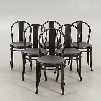 A set of six painted Gemla chairs marked 1997.