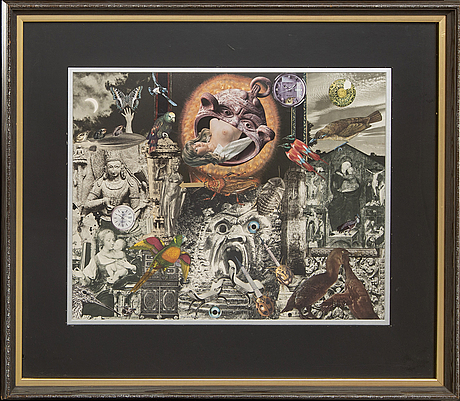 Max walter svanberg, collage signed and dated 80.