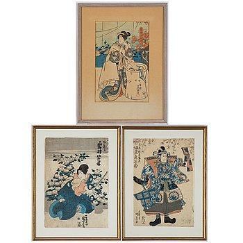 Three Japanese woodblock prints, including Kuniyoshi and Kunisada Gototei,