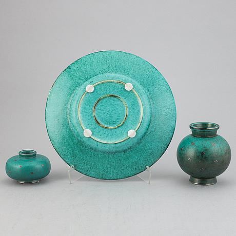 Wilhelm kåge, two 'argenta' stoneware vases and a dish, gustavsberg.