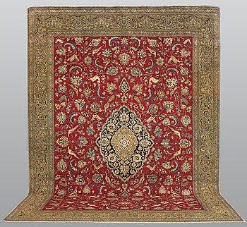 A carpet, figural Qum, ca 415 x 300 cm.