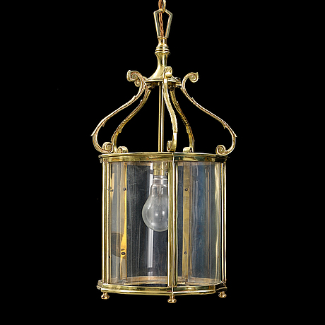 A brass and glass ceiling light, second half of the 20th century.