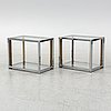 A pair of glass side tables, 1970's.