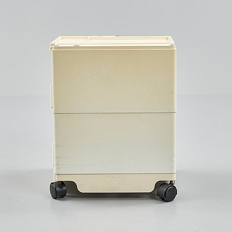 Joe colombo, a cream coloured plastic chest of drawers, 'boby', italy, post 1968.