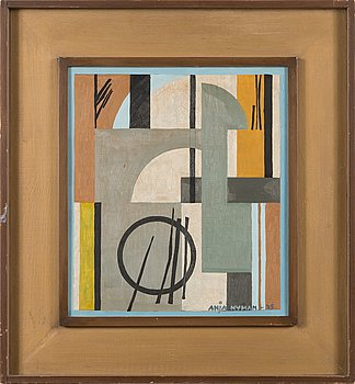 Anja Nyman, oil on board, signed and dated-79.
