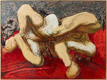 Boris Michailov, oil/acrylic on canvas laid down on panel, signed and dated -90.