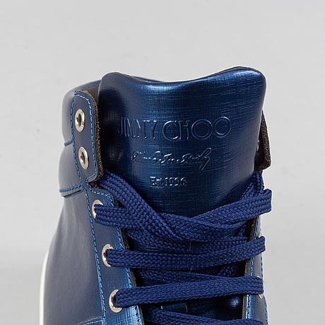 Jimmy choo, a pair of blue metallic 'belgravia' sneakers, size 44.