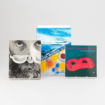 Utställningskataloger, 3 st, signerade, Peter Widman, Christo, César, olika utställningar, 1976-1994.