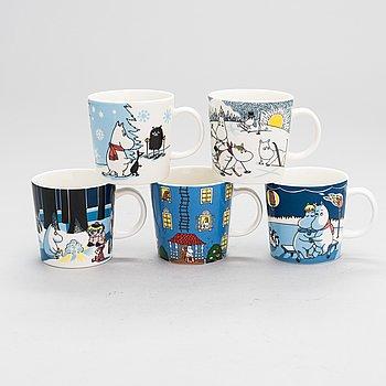 MOOMIN-MUGS, five porcelain, Moomin Characters, Arabia 2007-2017.