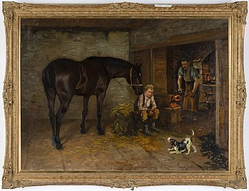 Wright Barker, oil on canvas, signed.