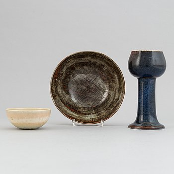 Stig Lindberg, a stoneware vase and two bowls for Gustavsbergs studio, 1960, 1967 and 1972.