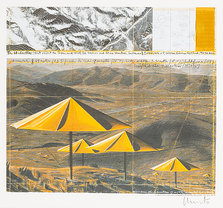 Christo & jeanne-claude, diptych, colour off set with fabric, 1991, signed.