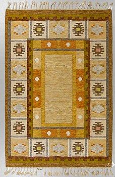 """Ingegerd Silow, a carpet, """"Båstad"""", flat weave, ca 202,5 x 135,5-137 cm, signed IS."""