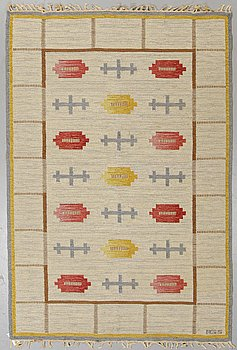 Anna-Greta Sjöqvist, a carpet, flat weave, ca 213,5 x 144 cm, signed AGS.