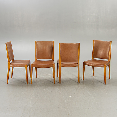Fritz hansen, a set of four teak and leather chairs mid 1900s denmark.