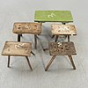 A set of five different wooden stools 19720th century.