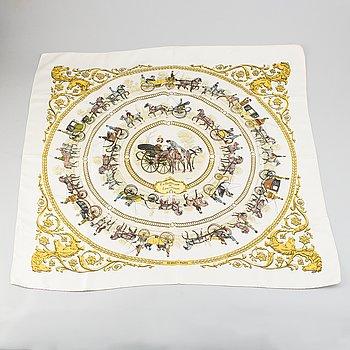Hermès, a 'La Promenade de Longchamps' silk scarf.