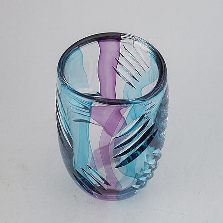 A unique glass vase by anna ehrner, kosta boda, signed.