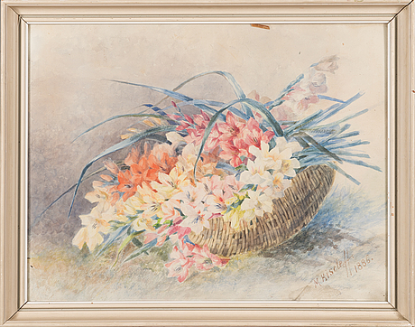 Marga toppelius-kiseleff, watercolor, signed and dated 1886.