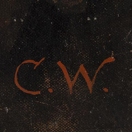 Okänd tysk konstnär, sent 1800-tal, olja på duk uppklistrad på pannå, signerad c.w.