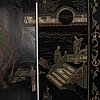A four panel, japanese folding screen, mid 20th century.